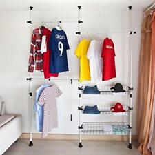 Clothes Storage Wardrobe Hanger Closet Organizer Shelves System Kit Shelf Rack