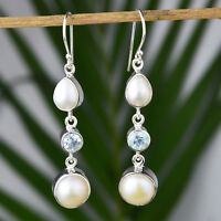 925 Sterling Silver blue topaz, Pearl gemstone Dangle Earrings fine Jewelry 7 g