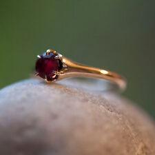 Victorian 10k Yellow Gold .8ct Rose Cut Garnet Belcher Setting Ring Sz7.75