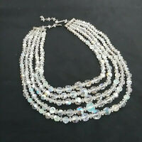 Vintage Crystal Beaded 5 Strand Aurora Borealis Necklace
