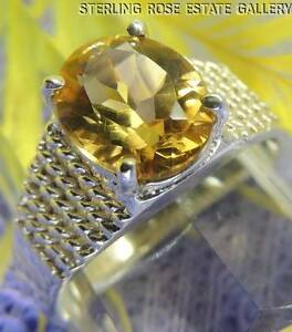 Vintage 10 mm CITRINE Sterling Silver 0.925 SOLITAIRE ENGAGEMENT RING size 9.5