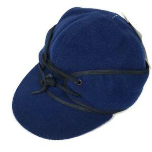Wyoming Traders Navy Blue Winter Wool Cap Fold Down Ear Flaps