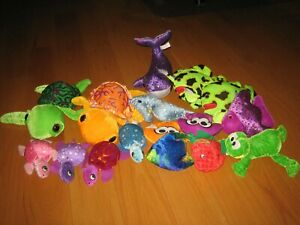 Lot of 16 mix sea creature stuffed animals Circus Circus sea turtles fish whale