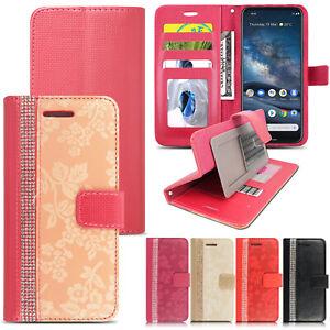 Case for Nokia 8.3 5.4 3.4 2.4 C5 Leather Bling Glitter Floral Flip Wallet Cover
