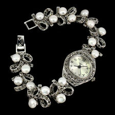 Creamy White Pearl 6mm Marcasite 925 Sterling Silver Watch 7.5 Inches