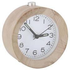 Classic Small Round Silent Table Snooze Beech Wood Alarm Clock Night Light Decor