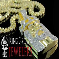 Jesus Face Pendant 10K Yellow Gold Silver Simu Diamond Mini Pave Charm Chain Set