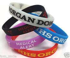 5x NHS ORGAN DONOR Wristband MEDICAL ALERT BRACELET - 5 colours - Glow In Dark