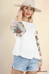 """XL-PLUS UMGEE """"tattoo"""" Embroidered Sheer Sleeve Knit Shirt/TOP/BLOUSE BHCS"""