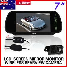 "WIRELESS CAR REAR VIEW KIT 7"" LCD MIRROR MONITOR + IR REVERSING CAMERA 6LED"