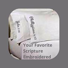 Adult Size Standard EMBROIDERED Religious Pillow Case. Scripture Bible Church