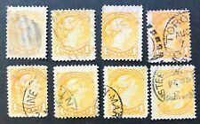 CANADA 1870-1893 #35 - 1 cent YELLOW SHADES QUEEN VICTORIA SMALL QUEEN x 8- USED