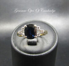 18ct Gold 18K gold Sapphire and Diamond Ring Size N US Size 6 3/4 2.9g