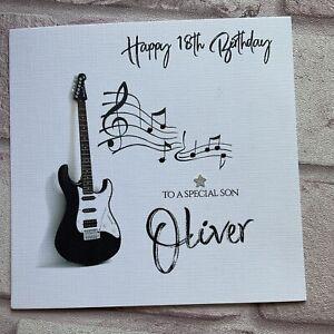 PERSONALISED Handmade BIRTHDAY CARD  Music Guitar SON DAD HUSBAND