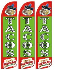 Tacos Mexican Food Windless Standard Size Swooper Flag Sign Banner Pk of 3