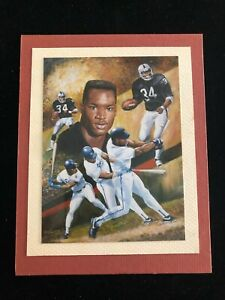 Bo Jackson - Matted Photo of Angelo Marino Lithograph - LA Raiders / KC Royals
