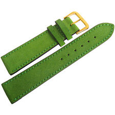 18mm Mens Fluco Green Suede Leather GOLD Buckle Made in Germany Watch Band Strap
