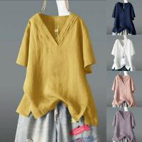 Women Sleeve Cotton Blouse  Linen V-Neck Loose T-Shirt Casual Blouse  Plus Top