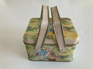Small Tin Basket Picnic Style With Handles Easter Bunnies and Eggs