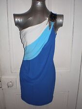 BNWT Donna Bella size 10 blue/white one shoulder pendant cotton/poly short dress