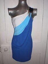 BNWT Donna Bella size 10 blue/white one shoulder pendant cotton/poly short dress