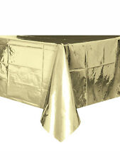Foil Gold Plastic Tablecloth 9ft X 4.5ft - Party Birthday Tableware Supplies