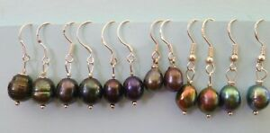 TAHITIAN  & BLACK PEARL EARRINGS 925 Sterling Silver Hooks. 6 types to pick from