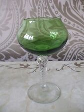 Vintage Retro Long Stem Green Wine Brandy Glass Ornament Vase 17cm tall