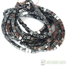 """Natural Hematite Gemstone Square Cube Silver Gold Multi-color Beads 16"""" Healing"""