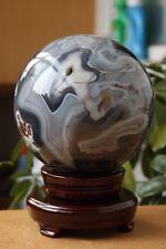 4430g NATURAL PRETTY AGATE SPHERE GEMSTONE QUARTZ CRYSTAL BALL HEALING + STAND