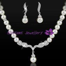 18K White GOLD GF Wedding Pearl NECKLACE SET with SWAROVSKI CRYSTAL ES332-L