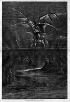 SKELETON WITH WINGS HOVERS IN THE AIR GLOOM OF THE NIGHT DEATH BY THOMAS NAST