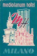 MILANO MILAN ITALY MEDIOLANUM HOTEL VINTAGE LUGGAGE LABEL