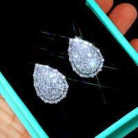 Elegant Stud Earrings for Women 925 Silver Pear Cut White Sapphire A Pair/set