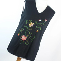 St Michael Black Floral Womens Vest Top Size 14