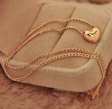 Elegant Gold Plated Heart Pendant Bib statement Chain Necklace Women Jewelry TR