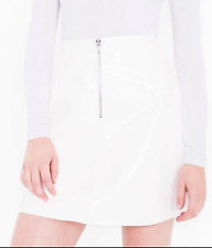NWT American Apparel A Line Zip Front Vinyl Shiny PVC Skirt White Size XS