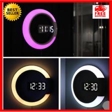 3D LED Digital Wall Clock Modern Large Hollow Clock Table Watch Nightlight Home