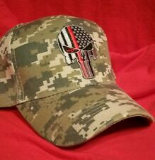 Punisher Military Fire Fighter Red Line  Flag Camouflage Baseball Cap