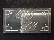 1971 Blissfield Mfg. Co. Anniversary 20 Grams Fractional Silver Bar Ingot A4441