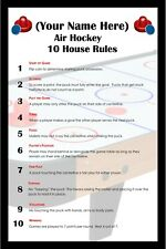 PERSONALIZED AIR HOCKEY 10 SIMPLE HOUSE RULES CUSTOM FRAMED ART POSTER