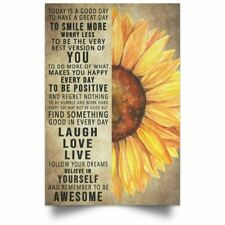 Sunflower Family Poster Believe In Yourself Motivation Quotes Art Print