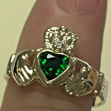 CLADDAGH RING deep green man-made emerald, IN 14K YELLOW GOLD RETAIL $999