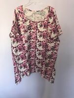 CW Classics Plus size 3X Pink Purple Floral Short Sleeve Shirt Thsirt Tee New