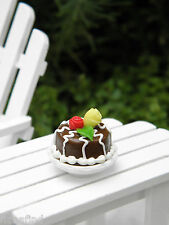 Miniature Dollhouse FAIRY GARDEN Accessories ~ TINY Chocolate Cake w Roses ~ NEW