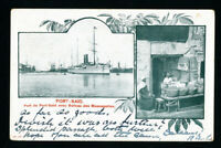 Egypt Card Early w/ Ship and 2 Pyramid Stamps