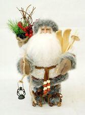 "12"" Gray Handmade Santa Claus Gift Xmas Decor Collect Holly Big Beard Lantern"