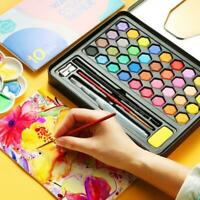 36 Colors Watercolour Paint Set With Brush Water Painting Pen Art Artist Kit Tin