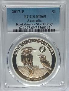 PCGS 2017 Australia KOOKABURRA Shark Privy $1 Dollar MS69 Silver 1oz Low Mintage