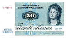 """Denmark ... P-50e ... 50 Kroner ... (19)82 ... *UNC* ... """"C0822N"""""""